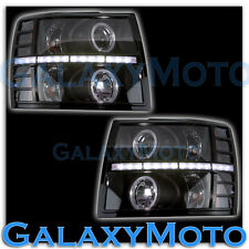07-13 Chevy Silverado Black Headlight Trim+Day time Running LED Bezel Cover