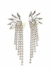 Silver Art Deco Chain Earrings 1920s Great Gatsby Diamante Drop Vtg Flapper 205