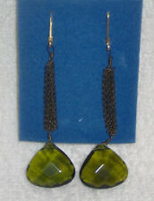 Forest Green Faceted Acrylic Linear Chain Earrings/Drop/Hook/AVON-Surgical Steel