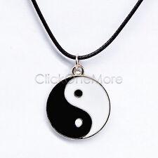 Chinese Yin Ying Yang Feng Shui Charm Pendant Necklace Black Wax Cord