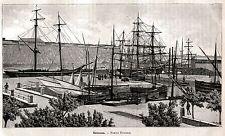 SIRACUSA: Porto Piccolo o Marmoreo. Sicilia.Sicily.Trinacria. Stampa Antica.1892