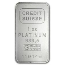 1 oz Credit Suisse Platinum Bar - With Assay Card - SKU #49174