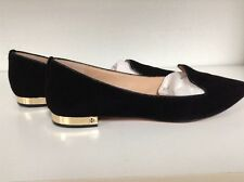 Tory Burch 'Connely' Smoking Slipper Black Suede Gold Heel 9.5
