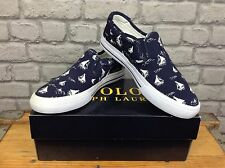 POLO RALPH LAUREN UK 7 BLUE CANVAS VAUGHN SLIP ON RRP £75