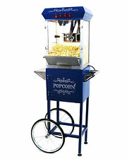 Paramount 8oz Popcorn Maker Machine & Cart - New Upgraded 8 oz Popper [Blue]