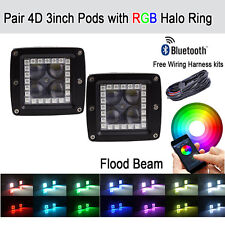 2x 3 INCH Bluetooth 4D Cree Led Work Light Cube Pods w Multicolor RGB Halo Flood