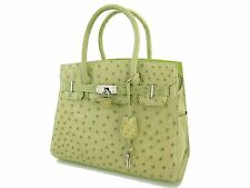 Genuine Green Ostrich Leather Hand Bag Purse #24030