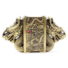 Vintage Belt Buckle 3D Dragon Lighter Belts Head  Removable Gold