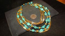 Rare vintage 1950s signed KRAMER Turquoise couture Runway choker necklace