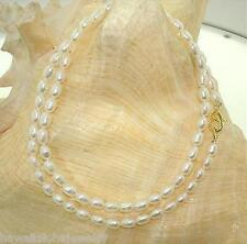 "4.5MM SINGLE-STRAND CULTURED FRESHWATER WHITE OVAL PEARL NECKLACE 18"" YP #1"