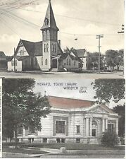 Lot of 2 M.E. Church & Kendall Yong Library Postcards Webster City Iowa Unposted