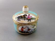 Fine 19th c. GERMAN MEISSEN Hand Painted Scenic TRINKET BOX Riders & Horses