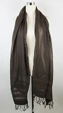 New Bottega Veneta Brown Cashmere Silk Long Scarf Leather Detail 308374 2500