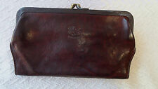 Il Bisonte Italy Dark Brown Large Kisslock Clutch Credit card wallet purse Nice