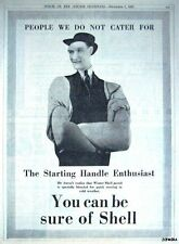 1932 SHELL Winter Petrol Car Advert 'Starting Handle Enthusiast' - Gas Print AD