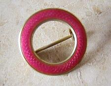 MARIUS HAMMER NORWAY- SILVER GUILLOCHE ENAMEL RING BROOCH PIN in PRETTY PINK