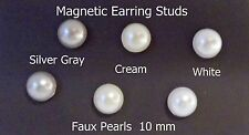MAGNETIC Faux PEARL 10mm Button Stud Clip on Fake Fashion 1 Pair Earrings USA