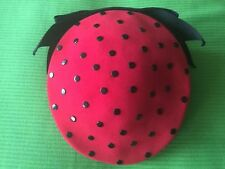 Vintage 50s-60's Lady's Hat RED BLACK POLKA DOT RIBBON Mint Condition S7-7 1/8