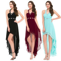 High Low Sexy Wedding Evening Party Prom Ball Gown Formal Dresses Size UK 4-18