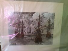 Caravels II, Engraving 16th Century, Lithograph 21x18