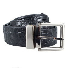 Genuine Crocodile Bone Tail Leather Men Black Belt Casual Style O-Bag CLEARANCE