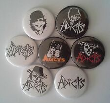 7 The Adicts Pin Badges 25mm punk Junkies A Clockwork Orange Songs of Praise UK