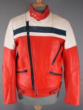 CLASSIC VINTAGE 70's SKINNYFIT RED, WHITE & BLUE WOLF LEATHERS BIKER JACKET 36IN