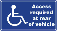 MOBILITY/WHEELCHAIR/DISABILITY .  Access required at rear of vehicle X1