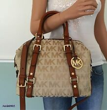 NEW! MICHAEL KORS Camel Brown Signature Medium Satchel Shoulder Handbag Purse