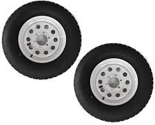 "Two Radial Trailer Tires & Rims ST225/75R15 225/75-15 15"" D 6 Lug White Modular"