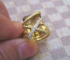 "NEW DAVID YURMAN ""CABLE WRAP"" 18K GOLD RING WITH CITRINE & DIAMONDS retail $3700"