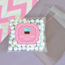 24 Cupcake Party Personalized Clear Candy Bags Bridal Shower Wedding Favors