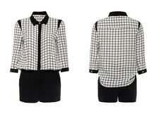Lili checked button up 3/4 sleeves shirt playsuit shorts XS NWT