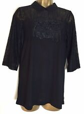 Dorothy Perkins Sample Black Lace Detail Top Size 12