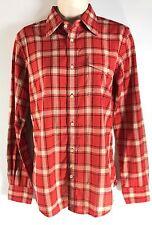 Ralph Lauren Red tan black plaid cotton button up women's shirt holiday sz 8 NEW
