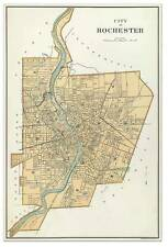 City of ROCHESTER New York Downtown MAP circa 1895 - Vintage Street Repro Poster
