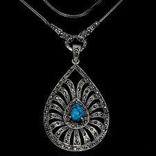 Sterling Silver 925 Genuine Natural Turquoise & Marcasite Large Necklace 24 Inch