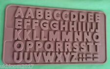 Silicone Letter Cake Topper Mould Chocolate Fondant Cookies Ice Alphabet Mol