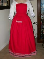 Victorian Style Apron Colonial Lady'S Red Cotton Pinner~Bib Apron~Mrs Claus
