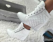 NEW LADIES SNEAKERS WOMENS LADIES WEDGE HIGH HEEL ANKLE, BOOTS SIZE 6,5  white