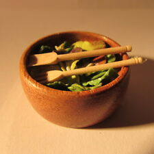 Salad in wooden bowl ~ Doll House Miniature Food ~ 1/12 scale