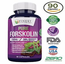 Pure FORSKOLIN Coleus Forskohlii Root 20% Extract Weight Loss 250 mg 90 Capsules