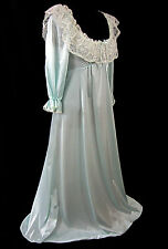Olga Small Vintage 1970s Long Pastel Blue Demure Nightgown Nylon Lingerie Lace