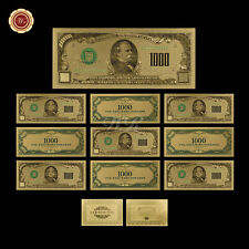 Lot/10pcs U.S Dollar Banknotes Colorized $1000 .999 Fine Gold Bill Uncirculated