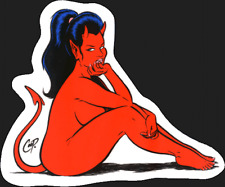SEXY DEVIL GIRL pony tail STICKER by coop **FREE SHIPPING** decal pop art