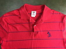 True Vintage 80s 90s Mickey Mouse Disney Wear Striped Red Polo Rugby M/L