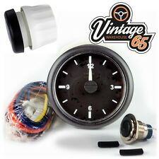 Classic Car Vintage Kit Car 52mm Black Bezel 12v - 24v Analogue Dashboard Clock