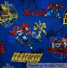 BonEful Fabric FQ Cotton Quilt Blue Transformer Car Boy Bumble*Bee Optimus Prime