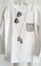 BOYS XL 14 WICKED WHITE SUNGLASS DOG TAG FAKE POCKET L/S SHIRT NWT ~ TCP