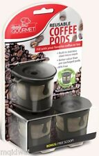 3 Reusable Coffee Pods Tea Pods K-Cups Stainless Steel Micro Mesh Filter NoN BPA